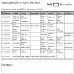 Veranstaltungsplan Apr./Mai 2018