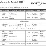 Veranstaltungsplan Juni/Juli 2019